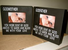 Personalized Godmother Godfather Godparent Gift Godparent Picture Frames Wood Painted Box Sign Frame Gift for Godparents 2 frame Set of 2