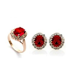 Showcase your inner passion La Mia Cara Jewelry - Unique and Assertive Crafted with CZ Diamonds in deep red and crystal clear gems with gold, this lovely set is