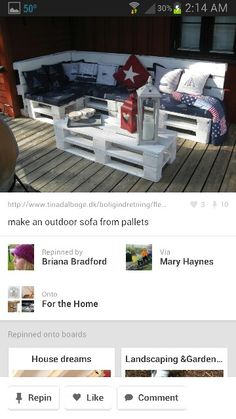 Pallet furniture.....OK I WANT TO MAKE THIS FOR MY BACK DECK...... SO I NEED PALLET'S.......