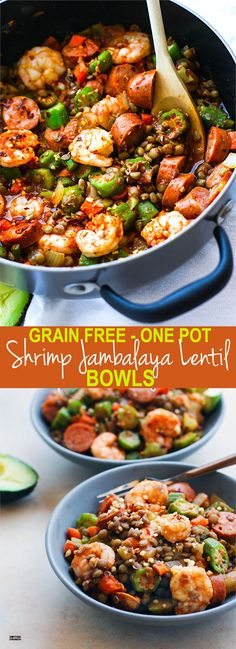 One Pot Shrimp Jambalaya Lentil Bowls! A grain free Healthy Southern Food Mash up! A  fun and healthy twist on classic Jambalaya and shrimp gumbo combined together to make one amazing southern comfort bowl. Packed full of veggies, lentils, and protein. It's an easy one pot meal for a family, potlucks, or even to make ahead and freeze for later!