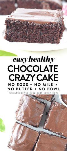 EASY CHOCOLATE CAKE NO milk no butter no eggs no bowls crazycake chocolatecake cake chocolate easy healthy vegan crazy wacky glutenfree vegan noeggs eggfree milkfree nomilk Vegan Baking Recipes, Vegan Dessert Recipes, Vegan Sweets, Healthy Sweets, Healthy Baking, Healthy Recipes, Crazy Cake Recipes, Crazy Cakes, Sweet Recipes