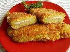 Sajtos-sonkás rántott spárgatök Sandwiches, Chicken, Ethnic Recipes, Food, Make It Happen, Essen, Meals, Paninis, Yemek
