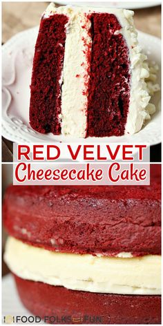 The cheesecake layer between layers of red velvet cake topped with cream cheese icing is delicious and beautiful to look at. Follow Food Folks and Fun for more dessert recipes!