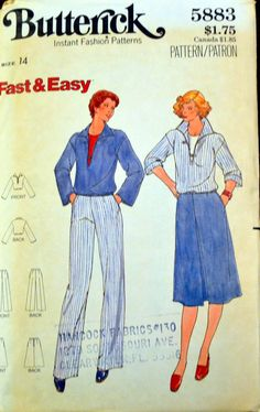 Vintage 1970's Sewing Pattern Butterick 5883 Misses'  Top, Skirt, and Pants Sizes 14  Bust 36 inches Complete UNCUT by GoofingOffSewing on Etsy