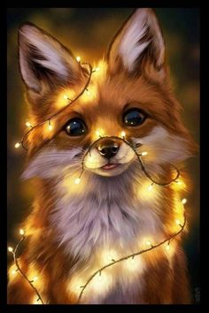 Animal Drawings Fairy Lights, an art print by Johanna Tarkela - INPRNT - This is a gallery-quality giclée art print on cotton rag archival paper, printed with archival inks. Pet Anime, Anime Animals, Cute Little Animals, Cute Funny Animals, Super Cute Animals, Funny Dogs, Animal Pictures, Cute Pictures, Cute Images