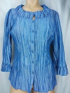 Harve' Benard Blouse Tunic Blue Rayon Crinkle 3/4 Sleeve Size 10 M  #HarvBenard #TunicBlouseTop #OfficeDressCasualorEvening