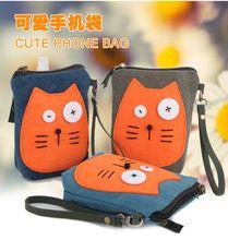 Bolsas de lona caliente! nuevo gato bolsos del teléfono móvil pequeñas lindas del mensajero del bolso del teléfono móvil de la lona Mini diagonal bolsos de mano para mujer(China (Mainland))