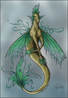 Unakavierde by theSlink ( She is a hippocampus. I wanted to make her look tattered/ethereal. Greek Creatures, Fantasy Creatures, Mythical Creatures, Horse Drawings, Animal Drawings, My Drawings, Fairy Tattoo Designs, Fantasy Mermaids, Underwater Creatures