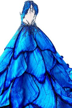 "fashion-runways: """"MAK TUMANG Blue Morpho dress "" "" This dress is life. Cute Prom Dresses, Ball Dresses, Pretty Dresses, Ball Gowns, Beautiful Gowns, Beautiful Outfits, Fantasy Gowns, Fantasy Outfits, Fantasy Clothes"