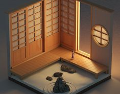 Isometric Tokonoma on Behance Japan Architecture, Architecture Collage, Japanese Home Decor, Japanese House, Japan Interior, Garden Frame, Japan Street, Game Concept Art, Exhibitions