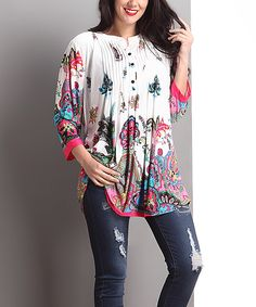 Look at this #zulilyfind! White Floral Notch Neck Pin Tuck Tunic - Plus by Reborn Collection #zulilyfinds