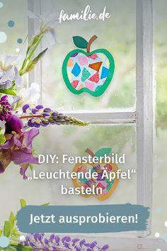 """Im Herbst ist nicht nur Bastelzeit, sondern auch Äpfelzeit. Warum also nicht beides kombinieren und unser Fensterbild """"Apfel"""" nachbasteln. Der Clou: Das Transparentpapier bringt unsere Apfel-Fensterbilder sogar zum Leuchten! #selbermachen #selbstgemacht #DIY #doityourself #basteln #schere #kinder #familie #family #gemeinsam #freizeit #hobby #alltagmitkindern #lebenmitkindern #familienleben #vereintimchaos #homemade #kleinkind #bunt #spaß #children #anleitung #tutorial #sogehts #herbst Bunt, Frame, Diy, Home Decor, Paper, Ww Recipes, Picture Frame, Decoration Home, Bricolage"""