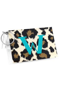 Leopard Vinyl ID/Credit Card Holder with Keyring #7470