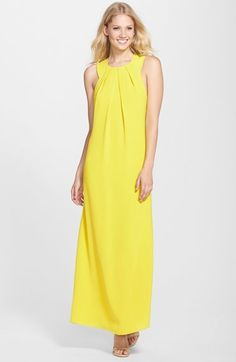 Clove Cutout Crêpe de Chine A-Line Maxi Dress #yellow