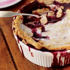 Blackberry Cobbler   This down-home blackberry cobbler has a buttery pastry crust draped over tart, bubbling fruit. It's perfect with vanilla ice cream.