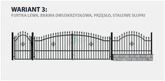Ogrodzenie klasyczne Rodos 2 w wariancie z bramą dwuskrzydłową i stalowymi słupkami.