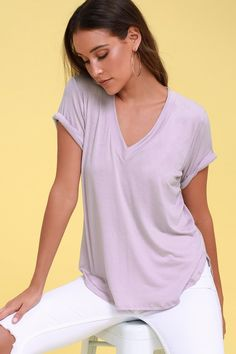 Serve up a stylishly simple look with the Tee for You Lavender Tee! Ultra soft and lightweight stretch knit shapes this essential tee with a V-neck, short sleeves, and a relaxed bodice with a rounded, high-low hem. Short Sleeve Tee, Short Sleeves, Wardrobe Basics, V Neck Tee, Cool Style, Lavender, Style Inspiration, Tees, Casual