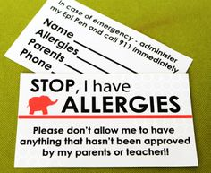 If you have lil ones with food allergies, it may be a great idea to make these cards for them to give to educators, food service providers, camp counselors, other parents, etc.