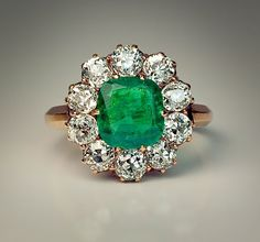 Antique Russian Emerald and Diamond Cluster Ring - Antique Jewelry | Vintage Rings | Faberge Eggs
