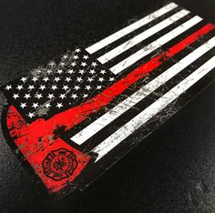 Thin Red Line Axe Decal   Chief Miller - Best Apparel for Firefighters