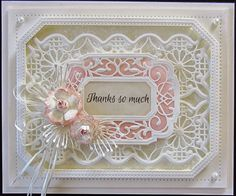 Sue Wilson - Creative Expressions - Thanks So Much I ♥LOVE♥ all of Sue Wilson's dies/stamps/embossing folders! You name it I love 'em all. Her dies make the most amazing cards! Kirigami, Dandelion Clock, Spellbinders Cards, Sue Wilson, Beautiful Handmade Cards, Die Cut Cards, Heartfelt Creations, Flower Cards, Making Ideas