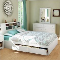 South Shore Vito Queen Mates Bed with Drawers and Bookcase Headboard Set, Pure White Bedroom Furniture Sets, Bedroom Sets, Bedroom Decor, Bedding Sets, Queen Headboard And Frame, Murphy-bett Ikea, Bookcase Headboard, Bookcase Storage, Panel Headboard