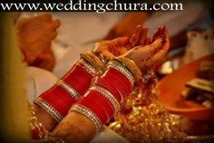 Beautiful Traditional Red Bridal Chura.   Website for purchase : www.weddingchura.com Whatsapp for purchase : +91-9416307694