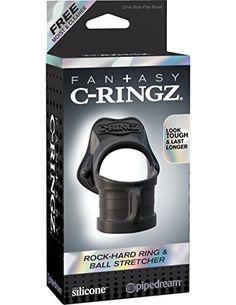 Fantasy C-Ringz - Rock Hard Ring & Ball-Stretcher - Penisring und Hodenstrecker in einem -Durchmesser: 3,3 cm - 3,8 cm - schwarz