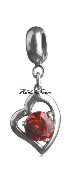This beautiful ruby red July heart birthstone .925 Sterling Silver European charm fits Pandora, Biagi Trollbeads, Chamilia, and most charm bracelets find out more at adabele.com