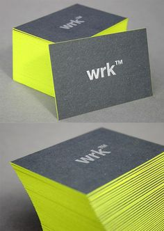 Eye-Catching Neon Edge Painted Black Business Card Design: Business Card Design.