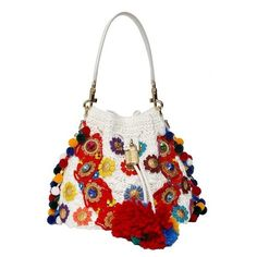 Dolce and Gabbana Embroidery Large Crossbody Bucket Bag (£3,825) ❤ liked on Polyvore featuring bags, handbags, shoulder bags, multicolor, white cross body purse, white crossbody, white shoulder bag, white crossbody handbags and bucket bag