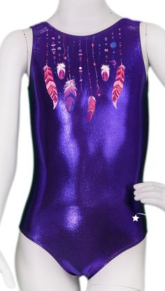 Purple Feather Necklace Leotard