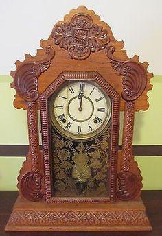 Antique Ingraham Ornately Carved Wood Gingerbread Clock Mantel Shelf | #1622288998