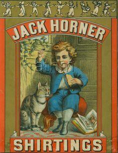 Jack Horner shirtings brand cloth label - nursey rhyme theme - Little Jack Horner sitting in the corner.