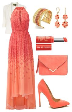 """""""Coral prom"""" by ladynightmare on Polyvore featuring moda, Jolie Moi, Badgley Mischka, Napier e Bare Escentuals"""