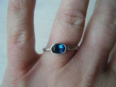 London Blue Topaz and Silver Ring with 14kt Gold by EmeraldPixie