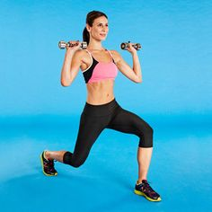The Lunge Shoulder Press exercise works your shoulders, triceps, butt and legs.