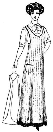 Patterns of Time 1910 Lady's One-Piece Kitchen Apron Pattern, Robes-Gloves-Stockings-Aprons-Swimwear - Kitchen aprons - Vintage Sewing Patterns, Clothing Patterns, Retro Apron Patterns, Vintage Apron Pattern, Dress Patterns, Sewing Aprons, Sew Ins, Aprons Vintage, Kitchen Aprons