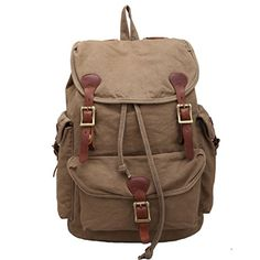 Castle Rock Vintage Men Casual Canvas Leather Backpack Rucksack Bookbag Satchel Hiking Bag ** Learn more by visiting the image link.(This is an Amazon affiliate link and I receive a commission for the sales)