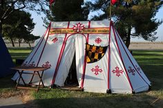 Medieval Wedge Striped Tent - adore the design, with a bit of upgrading, could be perfect for my double bell! LOVE the motto posted above the door!! Black stripes, exchange crosses for burgundy ermine, add a little more arches inbetween seams...and viola! I believe I have figure it out!! (FINALLY)