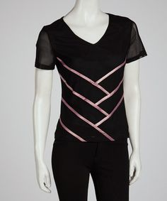 Take a look at this Black & Pink Ribbon Wrap Tee by Sharon Max on #zulily today!