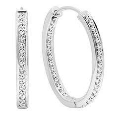 023 Carat ctw 14K White Gold Round Cut White Diamond Ladies Hoop Earrings 14 CT ** To view further for this item, visit the image link. Note: It's an affiliate link to Amazon