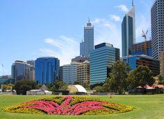 Perth Esplanade area looking towards the city  Western Australia