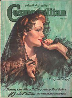"Cosmopolitan magazine, JUNE 1940 Artist: ""Loveliness in Lace"" Bradshaw Crandell"