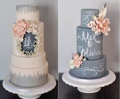 chalkboard wedding cakes by the Sophie Bifield Cake Company