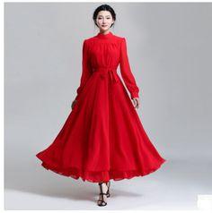 Бесплатная Доставка Высокое Качество 2015 Весна Новое Прибытие С Длинным Рукавом Pure Color Long Шифоновое Платье Красный купить в магазине Sunny Zhu's store( Exquisite High-quality Fashion) на AliExpress