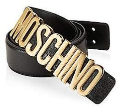 540a2f33d37af Moschino Women's Goldtone Logo Plate Leather Belt