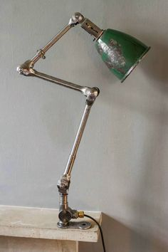 Green Anglepoise Desk Lamp - Desk Lamps - Angle poise lamp, fully wired, circa 1940 H: Industrial Floor Lamps, Vintage Industrial Furniture, Industrial Lighting, Vintage Lighting, Cool Lighting, Industrial Table, Table Lighting, Lighting Ideas, Small Desk Lamp