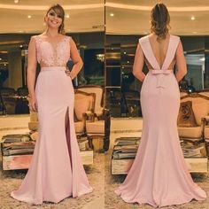 Sexy of Mermaid V Neck Spaghetti Straps Backless Pink Lace Long Prom - Renee Marino Prom Dresses Mermaid Evening Dresses, Bridesmaid Dresses, Wedding Dresses, Pink Lace, Party Dress, Fashion Dresses, Gowns, Formal Dresses, Spaghetti Straps