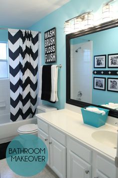 White, Black And Turquoise Bathroom Makeover On { . White, black and turquoise bathroom makeover on { lillunacom black and white bathroom decor - Bathroom Decoration Bathroom Kids, Bathroom Wall, Bathroom Colors, Teenage Bathroom Ideas, Bathroom Theme Ideas, Bathroom Inspiration, Bathroom Storage, Teal Bathroom Decor, Master Bathroom